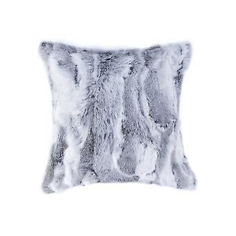 """5"""" x 18"""" x 18"""" 100% Natural Rabbit Fur Grey Pillow"""