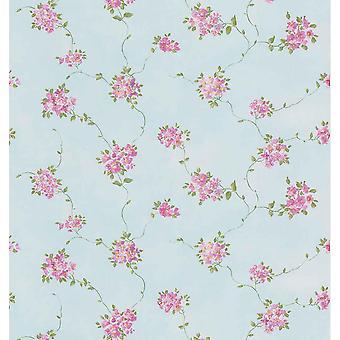 Puppenhaus Vinyl Wallpaper Floral Rosen Blume Vintage rosa blau feine Dekor