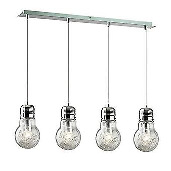 Light Bulb Shape Hanging Ceiling Pendant 4 Light Chrome