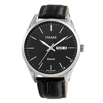 Watch Pulsar PJ6127X1-TRADITION Dateur sort læder armbånd bo tier stål sølv mænd