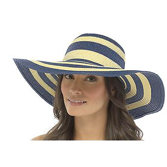 Tom Franks Ladies Straw Style Banded Stripe Wide Brim Summer Sun Hat One Size