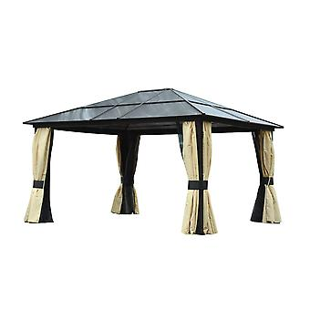Outsunny 4.3 x 3.6m Patio Aluminium Gazebo Canopy Marquee Party Tent Hardtop Roof Garden Shelter w/ Mesh & Side Walls