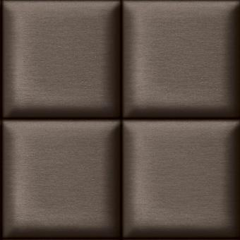 Charcoal Square Padded Effect Wallpaper Ugepa Muriva Brown Fabric