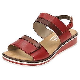 Rieker Leather Low Wedge Heel Open Toe Sandals V36B9-33
