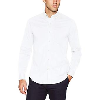Dockers Men's Long Sleeve Button Up Perfect Shirt, White,, White, Size Small