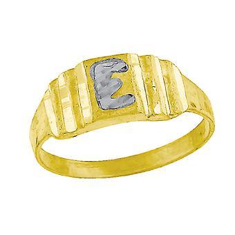 10k Two tone Gold baby voor jongens of meisjesLetter Naam Gepersonaliseerde Monogram Initial E Band Ring Measures 6.3x2.50mm Wide S
