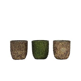Licht en levend theelicht 3 Set 6.5x7cm - Branca Green-Dark Brown-Gold