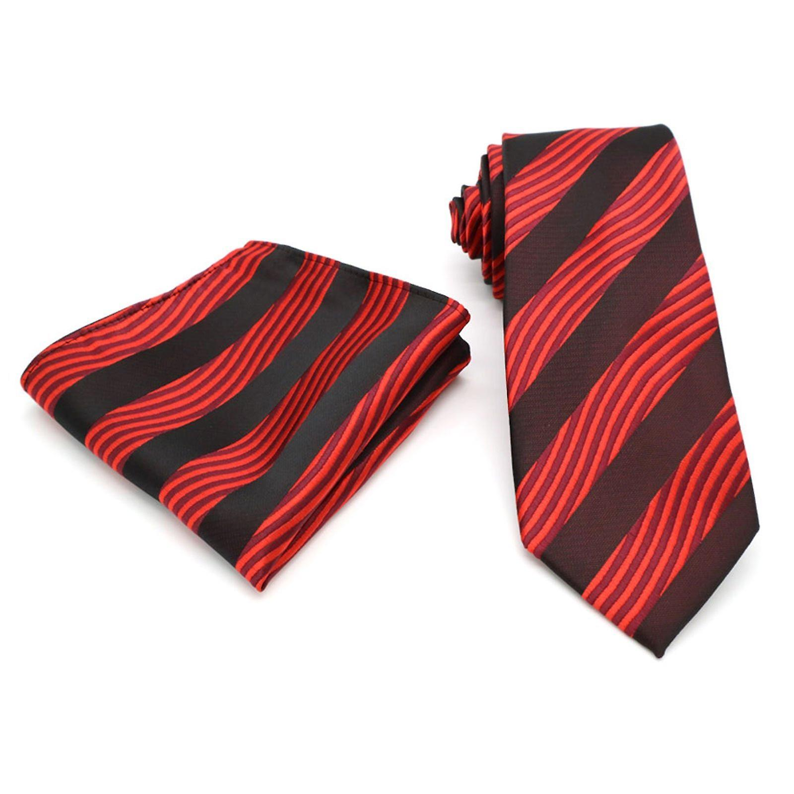 Red swirl stripe pattern designer tie & pocket square