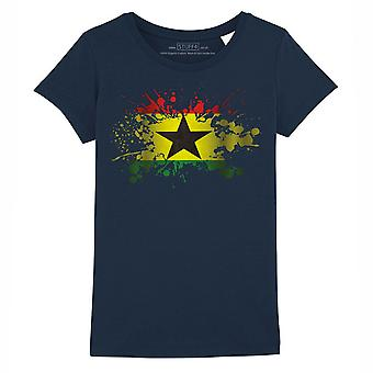 STUFF4 Girl's Round Neck T-Shirt/Ghana/Ghanaian Flag Splat/Navy Blue
