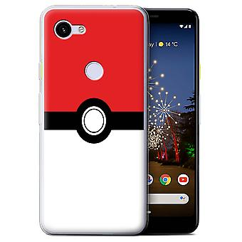 STUFF4 Gel TPU Case/Cover for Google Pixel 3a/Red/Pokeball Anime Inspired