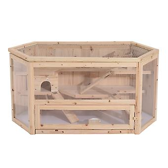 Pawhut Hamster Cage Rodent Mouse Pet Small Animal Kit Large Wooden hut Box
