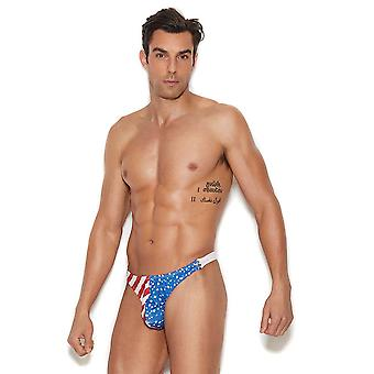 Mens Patriotic Stars and Stripes Snap Closure Pouch Thong Underwear