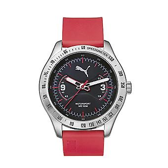 Cougar Time Speeder wrist watch, analog, plastic band, silver/Red