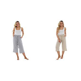 Indigo Roc Ladies/Womens Paperbag Waist Linen Trousers