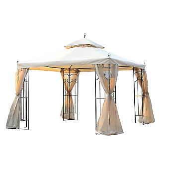 Outsunny 3(M)x3(M) Garden Gazebo Double Top Outdoor Canopy Patio Event Party Wedding Tent Backyard Sun Shade with Mesh Curtain - Beige