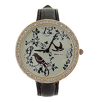 Henley Ladies Two Tone Goldtone Feathery Friends Grape Patent Strap Watch H06072.10