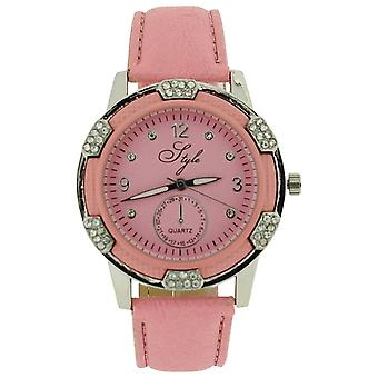 Style Ladies Analogue Clear Stone Set Bezel Pink Dial & PU Strap Watch NSS915