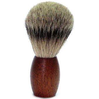 Gold Badger shaving brush with Badger plucking hair, cedar wood handle