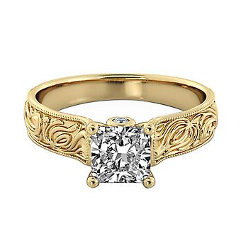 1.61 Carat F SI2 Diamond Engagement Ring 14K Yellow Gold Solitaire w Accents Filigree Cathedral