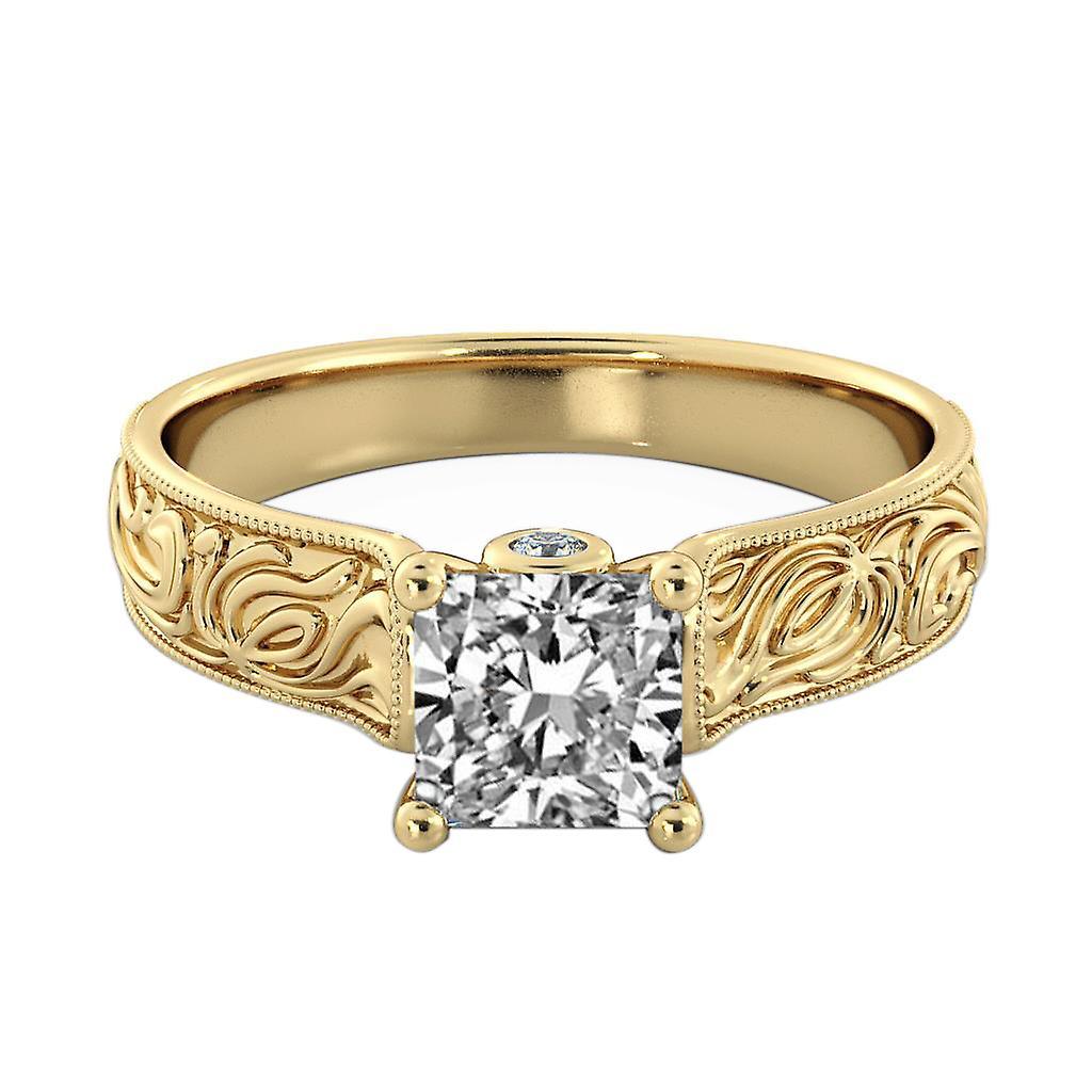 1.56 carati D SI2 diamanti anello di fidanzamento 14k giallo oro solitario w accenti Cattedrale di filigrana