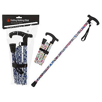 Summit Walking Stick, Easy Adjustable Height Folding Extendable Walking Cane - White/Blue