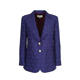 Gucci 610278zadsu4486 Women's Blue Wool Blazer
