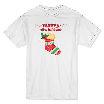 Joyeux Noël rouge texte coloré Boot graphique blanc T-shirt homme