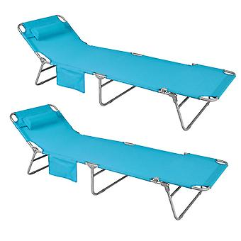 SoBuy Set of 2 Adjustable Folding Outdoor Camping Chair,Blue OGS35-Bx2