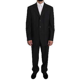 Z ZEGNA Black Striped Two Piece 3 Button Wool  Suit -- KOS1671600
