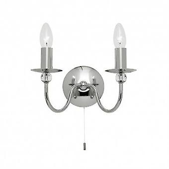 1 Light Indoor Candle Wall Light Chrome With Clear Glass