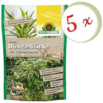Sparset: 5 x NEWDORFF Azet® FertilizerSauvat vihreille kasveille, 40 tikkua