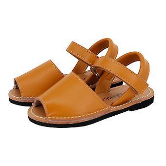 SKEANIE Kids Avarcas Leather Sandals Tan