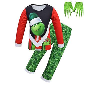 Christmas Grinch Pajamas And Pointed Gloves
