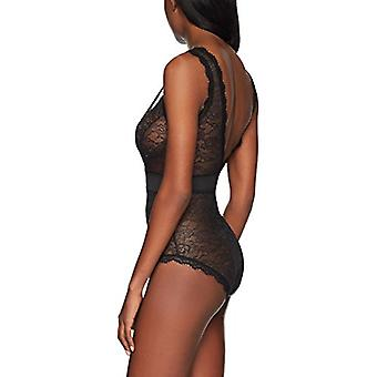 Brand - Mae Women's Eyelash Lace Bodysuit, Black, Medium