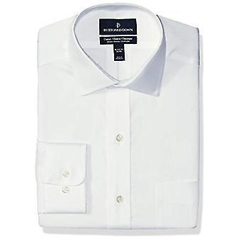 BUTTONED DOWN Men's Classic Fit Stretch Twill Non-Iron Dress Shirt, White, 17...