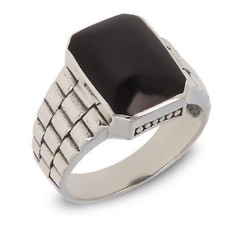 ADEN Antik Effekt 925 Sterling Silber schwarz Perlmutt Biker Ring (id 3953)