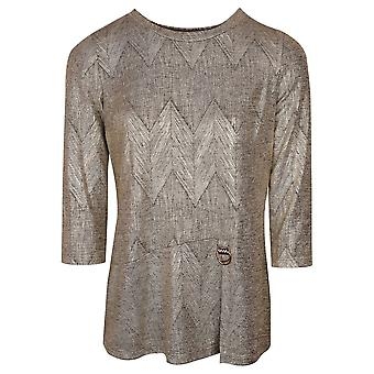 Frank Lyman Gold Shimmer 3/4 Sleeve Top With Subtle Chevron Design