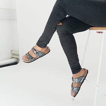 Биркенсток Сидней 1016892 (рег) Дамы Два ремешка сандалии Python Черный