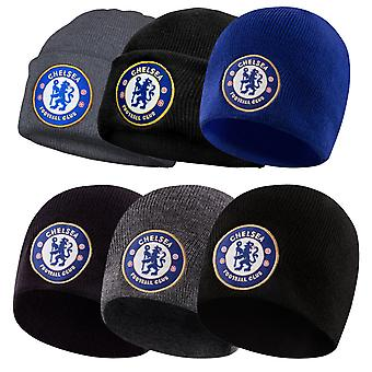 Chelsea FC Official Football Gift Kids Knitted Bronx Beanie Hat Crest