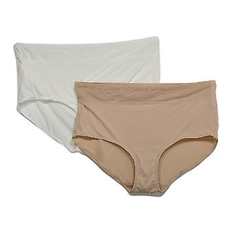 Breezies Plus Panties Lace Essentials Set of 2 Full Brief White A367383