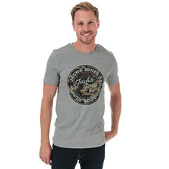 Men's Jack Jones Camo Man Camiseta en Gris