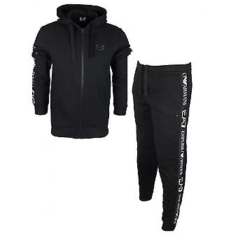 EA7 by Emporio Armani Hooded Zip Up Black Cotton Tracksuit