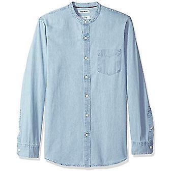 Goodthreads Men's Slim-Fit Long-Sleeve Band-Collar Denim Shirt, -light blue, ...
