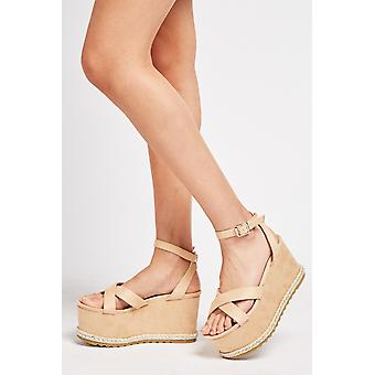 Cross Strappy Wedge Sandals