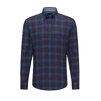 Fynch-Hatton Fynch-hatton Long Sleeved Button Down Collar Shirt Blue-anthra
