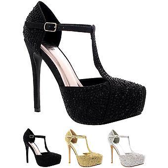 Womens Wedding Stiletto Diamante T-Strap Platform Prom Evening High Heels UK 3-9