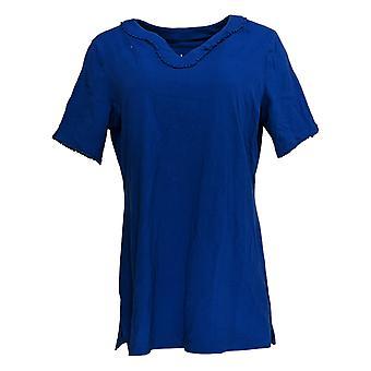 Denim & Co. Women's Top Perfect Jersey U-Neck Dot Lace Trim Blue A365282
