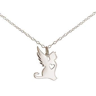 GEMSHINE kedja katt med vingar. Lojal skyddsängel. 925 Silver, guldpläterad, ros