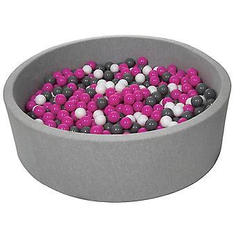 Poço de bola 125 cm com 900 bolas brancas, roxas e cinza