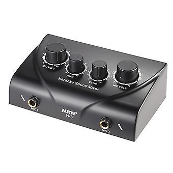 Kannettavat kaksoismikrofonitulot Äänen äänimikseri vahvistimelle ja mikrofonille (musta)